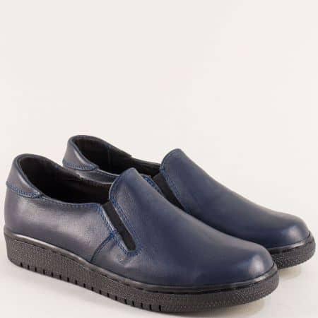 Равни дамски обувки в син цвят от естествена кожа 2801608s