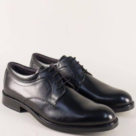 Кожени мъжки обувки с връзки в черен цвят 2803212ch