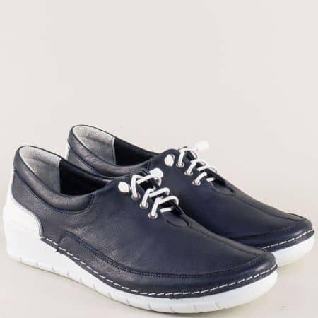 Анатомични дамски обувки от естествена кожа в син цвят 28105sb