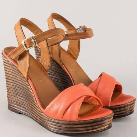 Дамски сандали на висока платформа в оранж и кафяво от естествена кожа 2812143ok