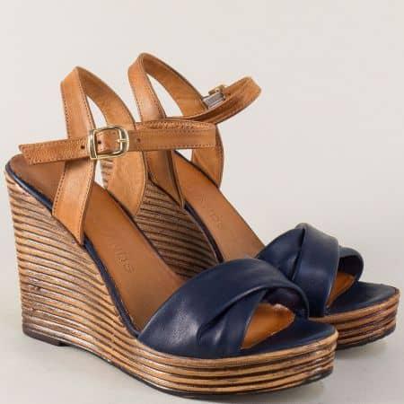 Дамски сандали в кафяво и синьо с кожена стелка 2812143sk
