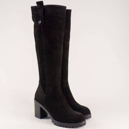 Велурени дамски ботуши на висок ток в черен цвят 28366vch