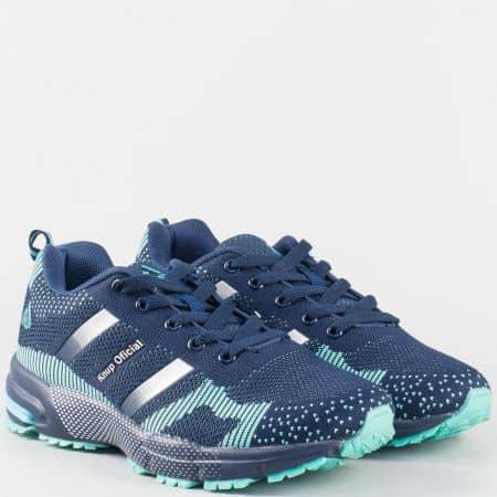 Дамски маратонки в синьо с връзки 28472-40s