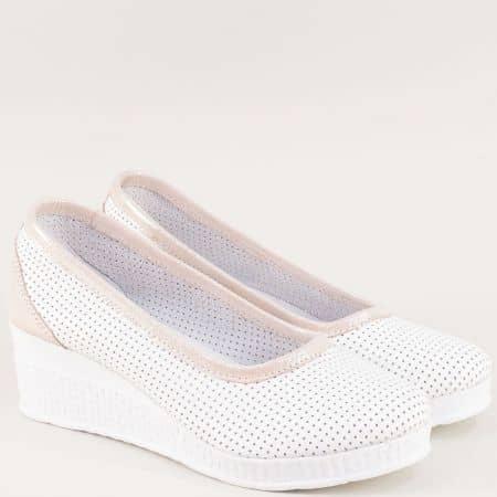 Дамски обувки в бяло и розово с лазерна перфорация 28618206brz