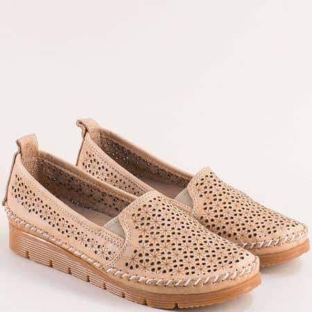 Дамски анатомични обувки от естествена кожа в бежов цвят 287bj