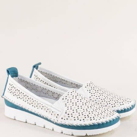 Кожени дамски обувки в синьо и бяло с перфорация 287bs