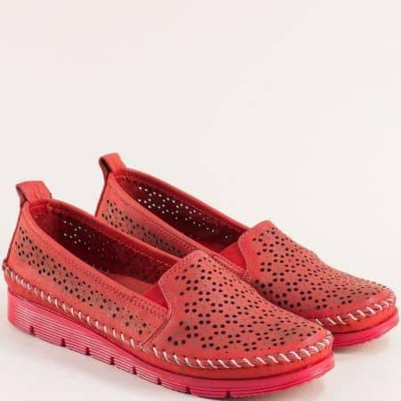 Червени дамски обувки от естествена кожа с перфорация 287chv