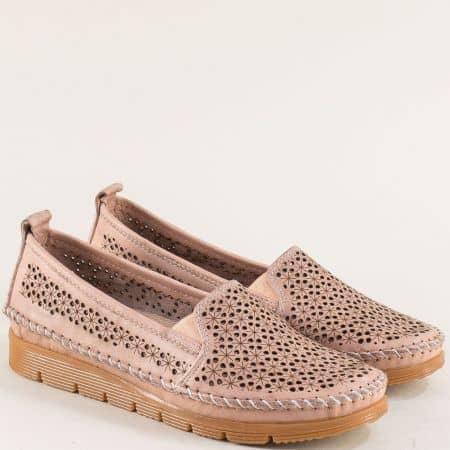 Розови дамски обувки от естествена кожа с перфорация 287rz