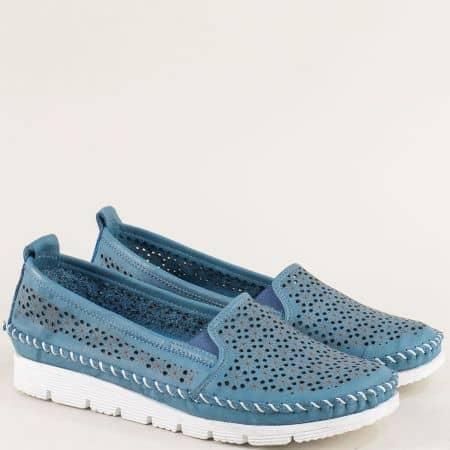 Сини дамски обувки на равно ходило с кожена стелака 287s