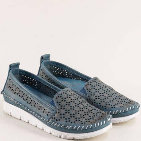 Перфорирани дамски обувки в син цвят от естествена кожа 287ss