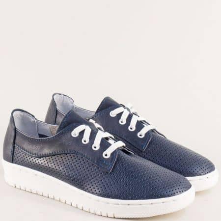 Български сини дамски обувки от естествена кожа 2891608s