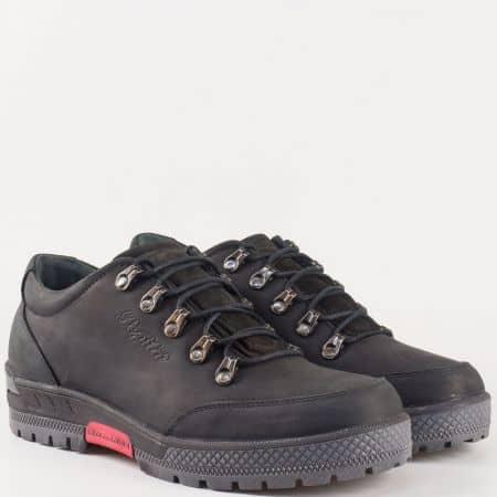 Стабилни мъжки обувки с грайфер и връзки от естествен набук в черен цвят 2893nch