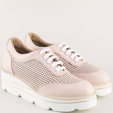 Кожени дамски обувки на платформа в розов цвят 29042rz