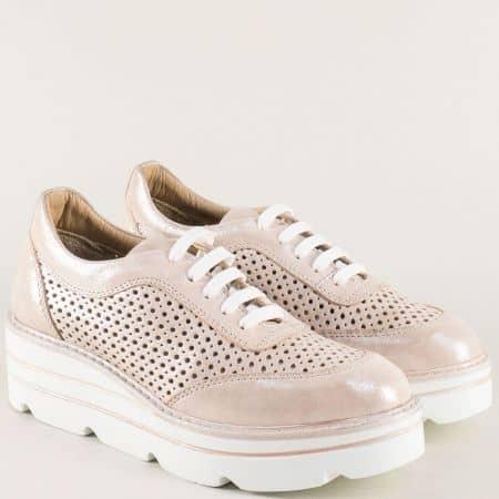 Розови дамски обувки с перлен блясък и кожена стелка 29042srz