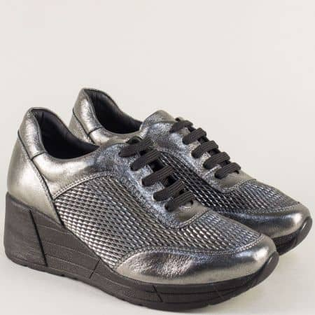 Бронзови дамски обувки от естествена кожа на платформа 29095brz
