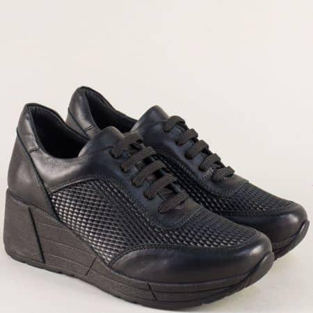 Черни дамски обувки на платформа от естествена кожа 29095ch