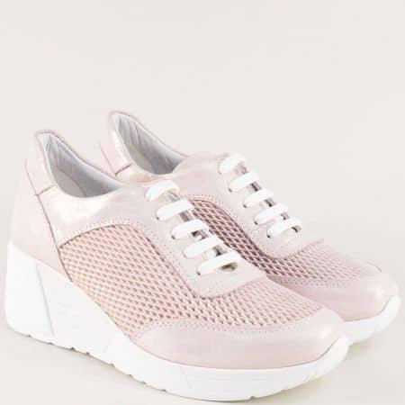 Розови анатомични дамски обувки от естествена кожа 29095rz