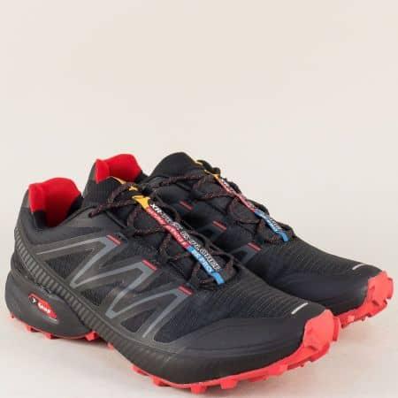 Спортни мъжки обувки с връзки в червено и черно- Knup 2915ch