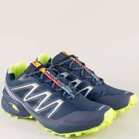 Мъжки маратонки на равно ходило с връзки в син и зелен цвят 2915s