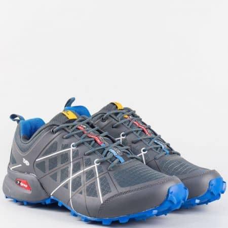 Модерни сиви мъжки маратонки Knup със сини детайли 2916-45sv