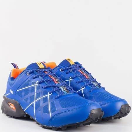 Мъжки унгарски маратонки с връзки в синьо и черно 2916-45ts
