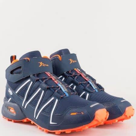Високи мъжки маратонки в син цвят с грайферно ходило, връзки и лепка- Athletic  29198s