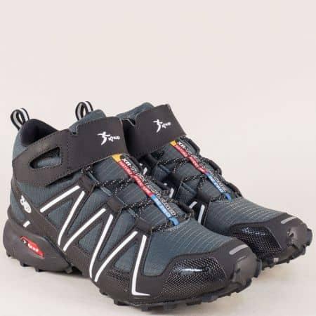 Мъжки спортни обувки на равно ходило в сив и черен цвят 29197svch