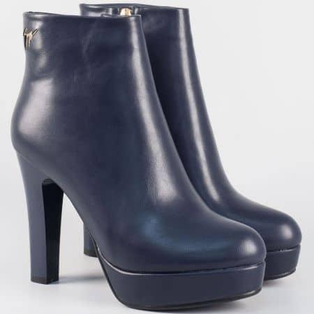 Тъмно сини дамски боти с цип- Eliza на висок стабилен ток 2919s