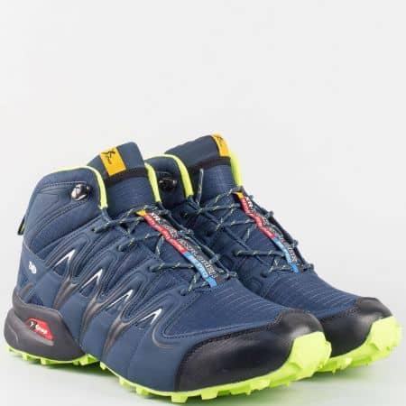 Функционални мъжки маратонки в син цвят с грайфер, лепка и връзки- Knup 29209s