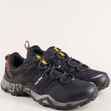 Мъжки маратонки в черен цвят на равно ходило- Knup 2924-45cho