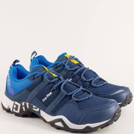 Мъжки маратонки- KNUP в син цвят с връзки 2924-45ts