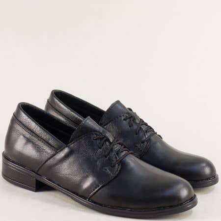 Черни дамски обувки с връзки от естествена кожа 292arizonach