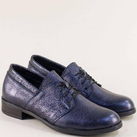 Сини дамски обувки с връзки от сатен и естествена кожа 292arizonats