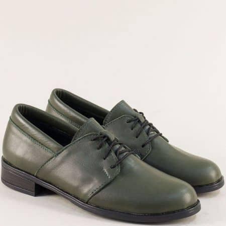 Зелени дамски обувки с връзки от естествена кожа 292arizonaz
