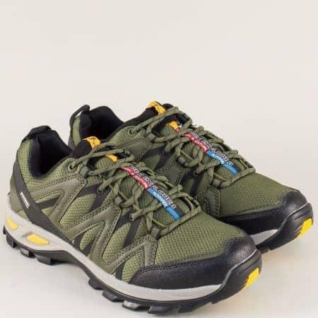 Зелени мъжки маратонки на комфортно ходило и връзки- Knup 293813-45z