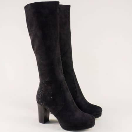 Стилни дамски ботуши на висок стабилен ток в черен цвят 294962vch