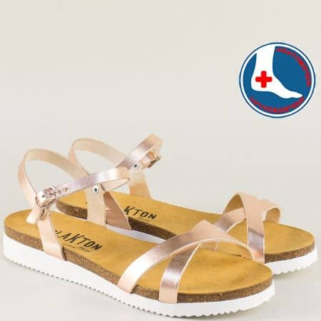 Розово златисти дамски сандали на ортопедично ходило 295029rz