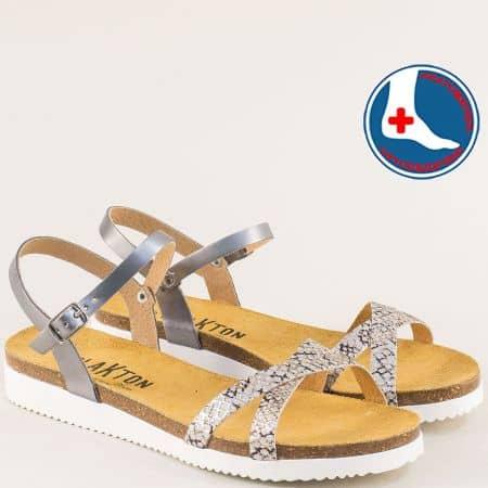 Сребристи дамски сандали със змийски принт- PLAKTON 295029srps