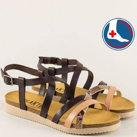 Анатомични дамски сандали в бежово и кафяво- PLAKTON 295184kbj