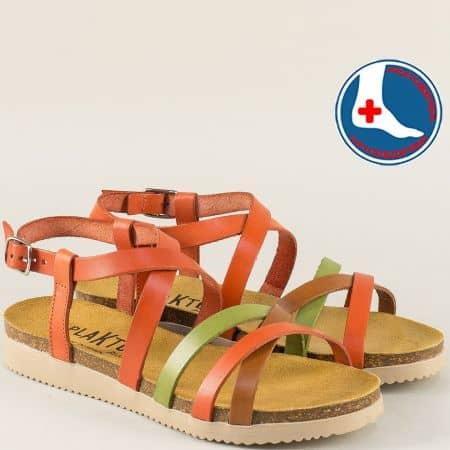 Ортопедични дамски сандали в зелено, кафяво и оранж 295184ops
