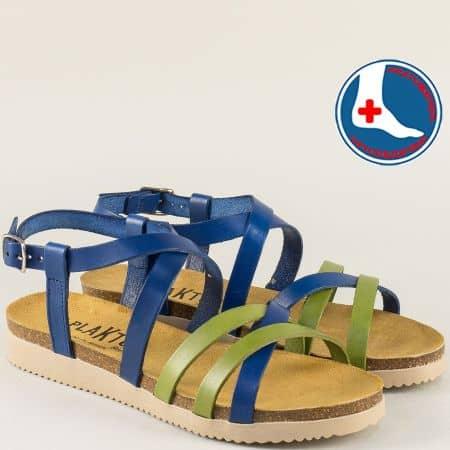 Равни дамски сандали от естествена кожа в синьо и зелено- PLAKTON 295184sz