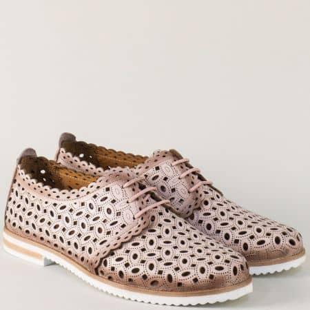 Перфорирани дамски обувки от розова естествена кожа 295rz