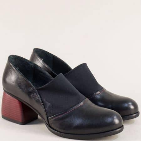 Черни дамски обувки на среден ток в цвят бордо 29811chchv