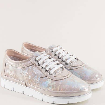 Кожени дамски обувки с флорален принт в бежов цвят 29914061bjps