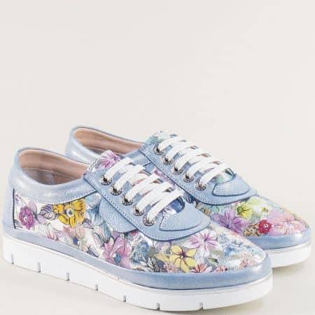 Светло сини дамски обувки с пъстър флорален принт 29914061sps