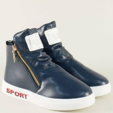 Детски спортни обувки в син цвят на равно ходило 300001-30s