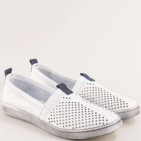 Комфортни кожени дамски обувки в бял цвят 3001b