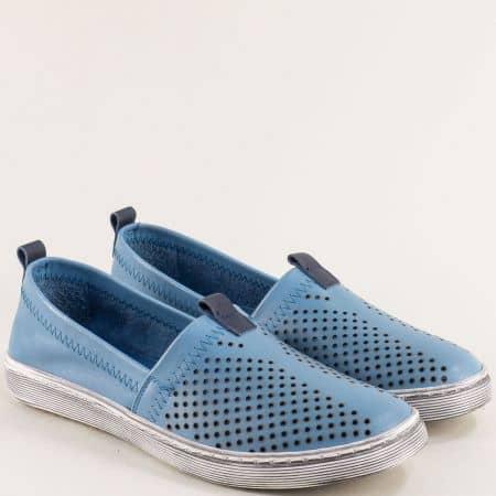 Комфортни кожени дамски обувки в син цвят 3001s