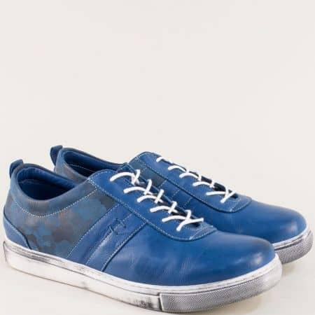 Сини спортни мъжки обувки от естествена кожа 3003s