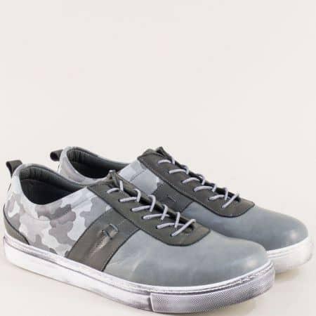Сиви спортни мъжки обувки от естествена кожа 3003sv